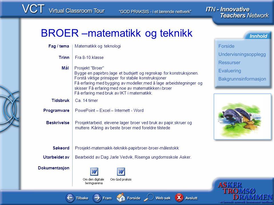 Fag / tema Matematikk og teknologi. Trinn. Fra 8-10.klasse. Prosjekt Broer Bygge en papirbro,lage et budsjett og regnskap for konstruksjonen.