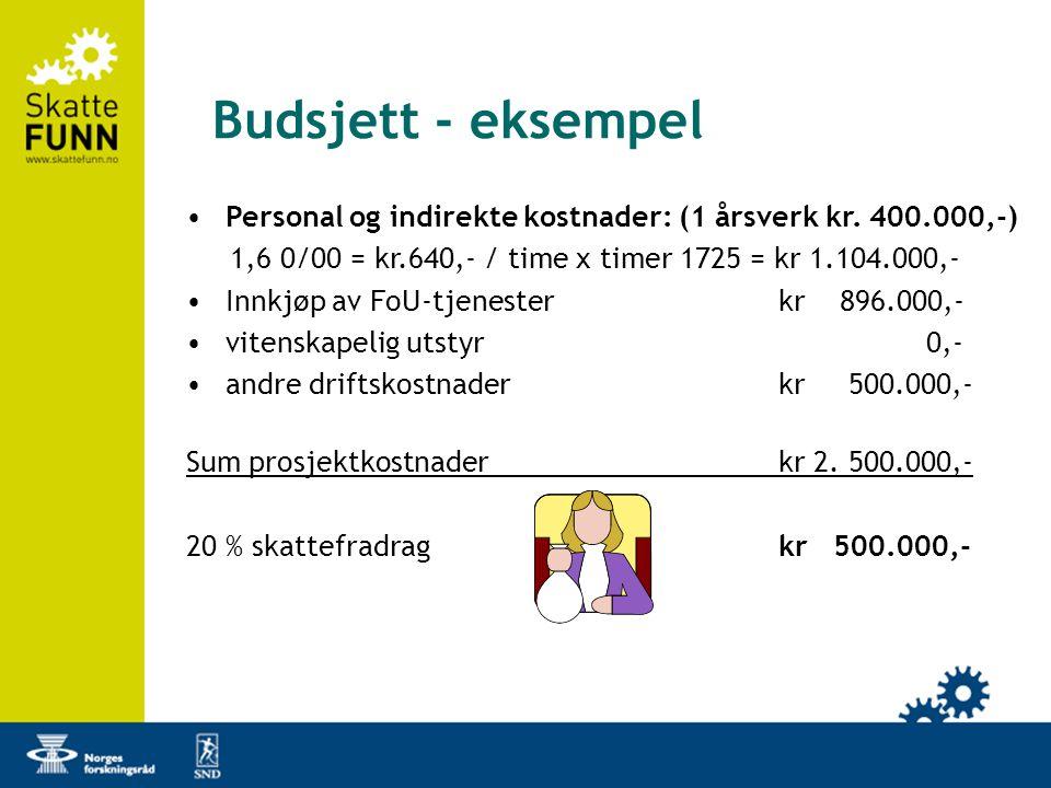 Budsjett - eksempel Personal og indirekte kostnader: (1 årsverk kr. 400.000,-) 1,6 0/00 = kr.640,- / time x timer 1725 = kr 1.104.000,-