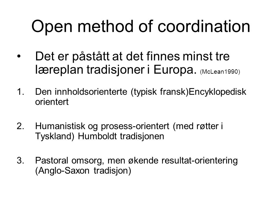 Open method of coordination