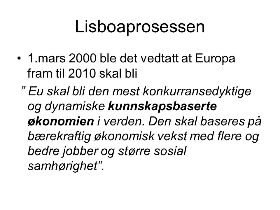 Lisboaprosessen 1.mars 2000 ble det vedtatt at Europa fram til 2010 skal bli.