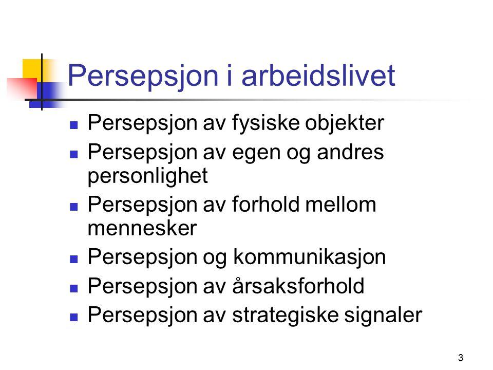 Persepsjon i arbeidslivet