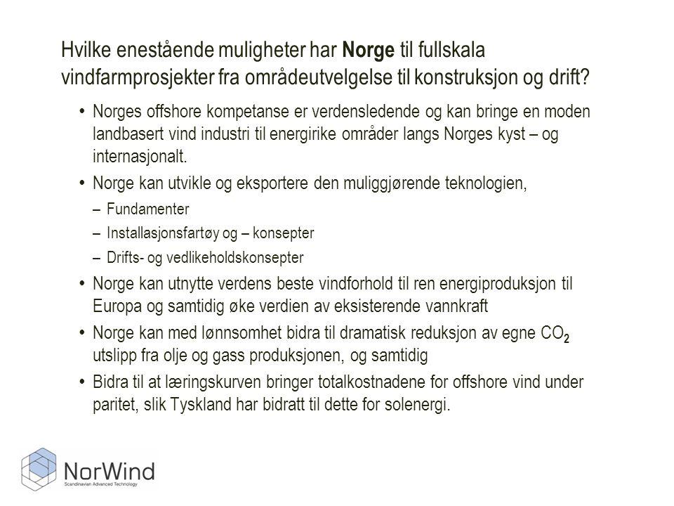 Hvilke enestående muligheter har Norge til fullskala vindfarmprosjekter fra områdeutvelgelse til konstruksjon og drift