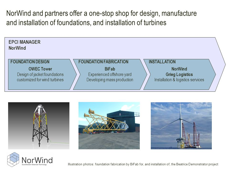 NorWind and partners offer a one-stop shop for design, manufacture and installation of foundations, and installation of turbines