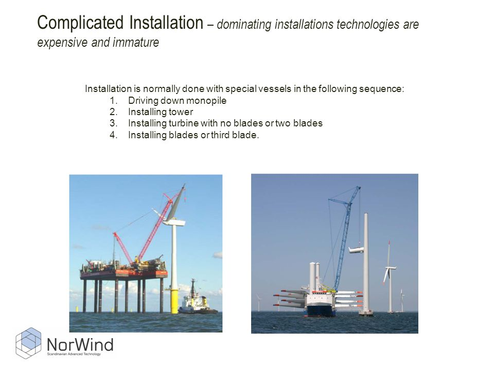 Complicated Installation – dominating installations technologies are expensive and immature