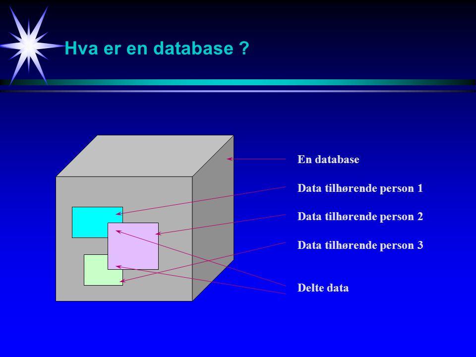Hva er en database En database Data tilhørende person 1