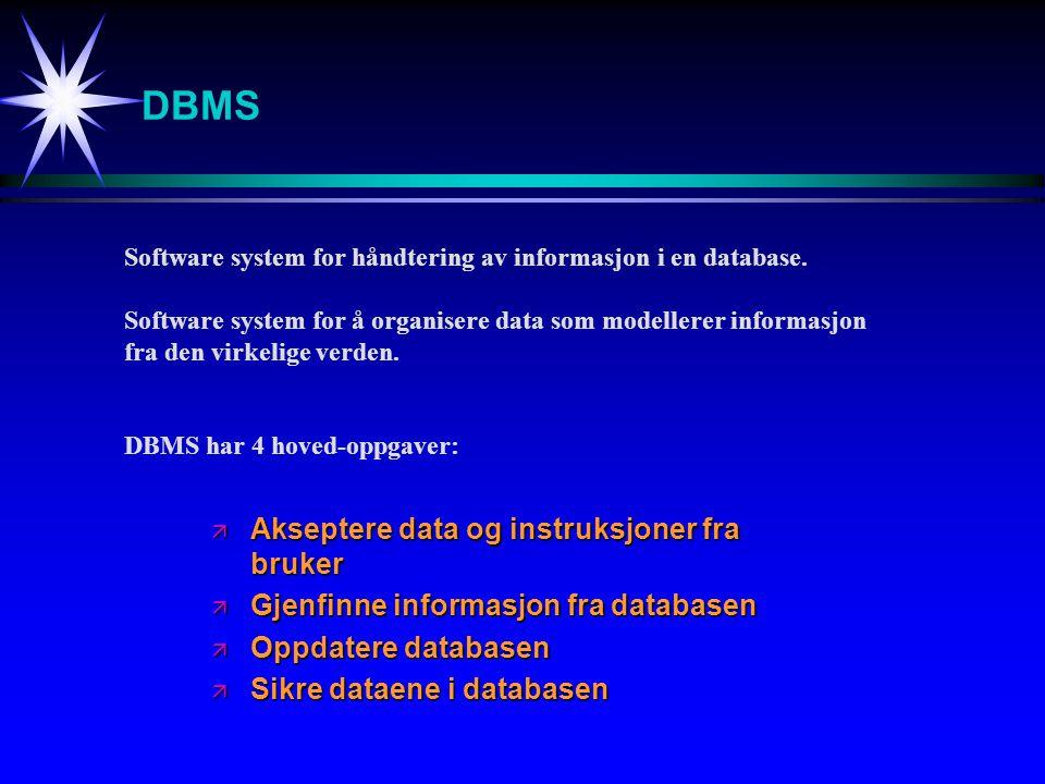 DBMS Akseptere data og instruksjoner fra bruker
