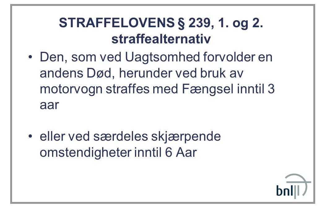 STRAFFELOVENS § 239, 1. og 2. straffealternativ
