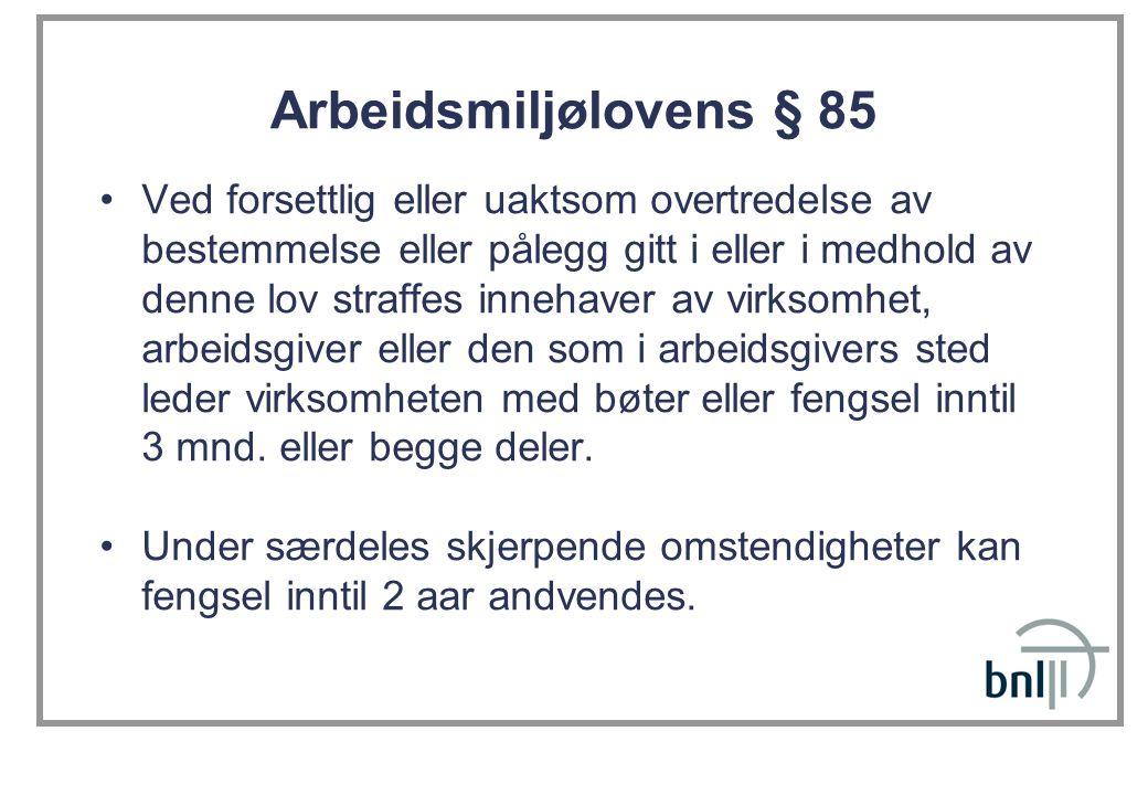 Arbeidsmiljølovens § 85