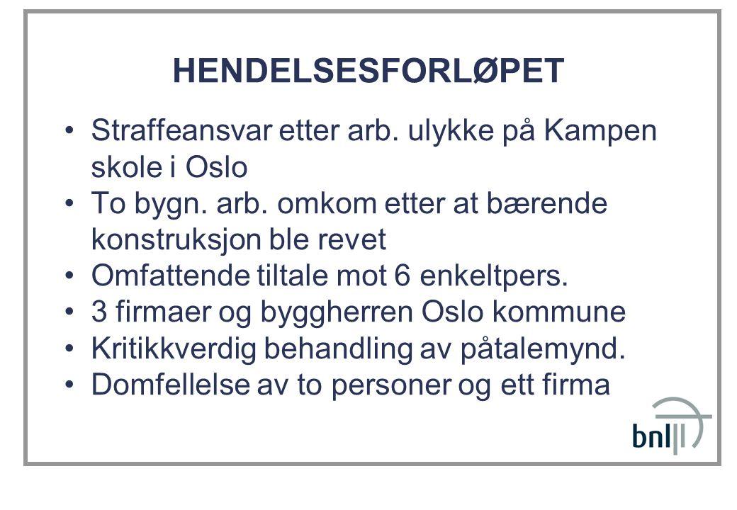 HENDELSESFORLØPET Straffeansvar etter arb. ulykke på Kampen skole i Oslo. To bygn. arb. omkom etter at bærende konstruksjon ble revet.