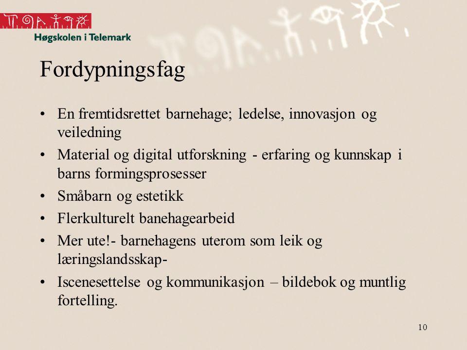 Fordypningsfag En fremtidsrettet barnehage; ledelse, innovasjon og veiledning.