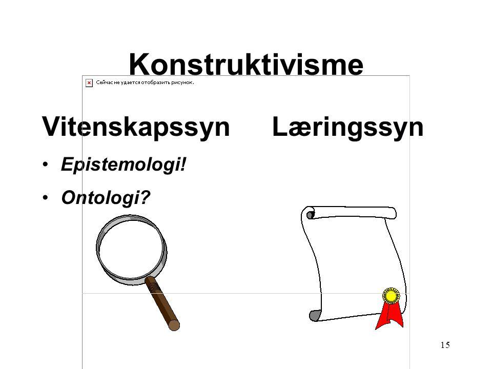 Konstruktivisme Vitenskapssyn Epistemologi! Ontologi Læringssyn