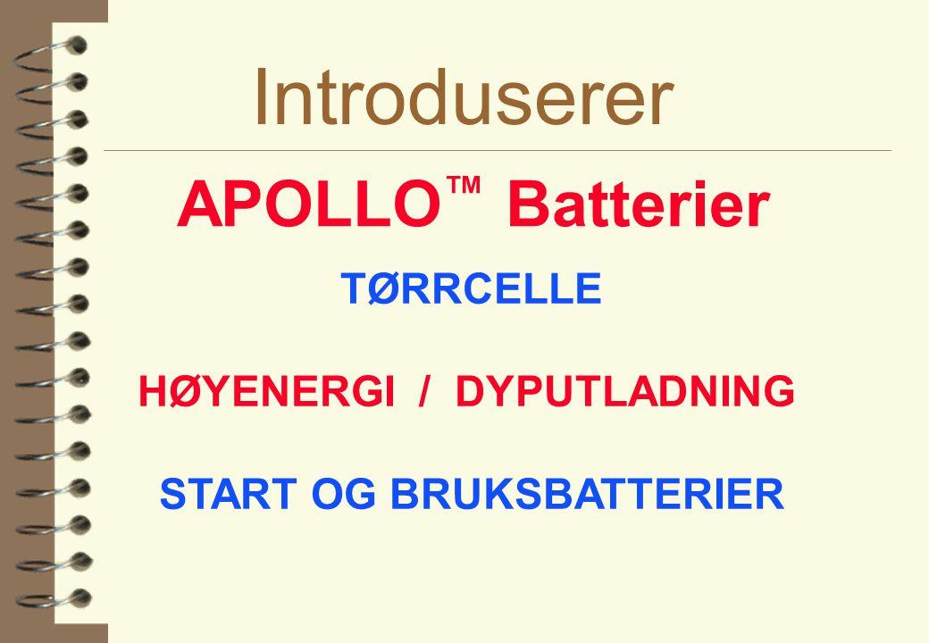 HØYENERGI / DYPUTLADNING START OG BRUKSBATTERIER