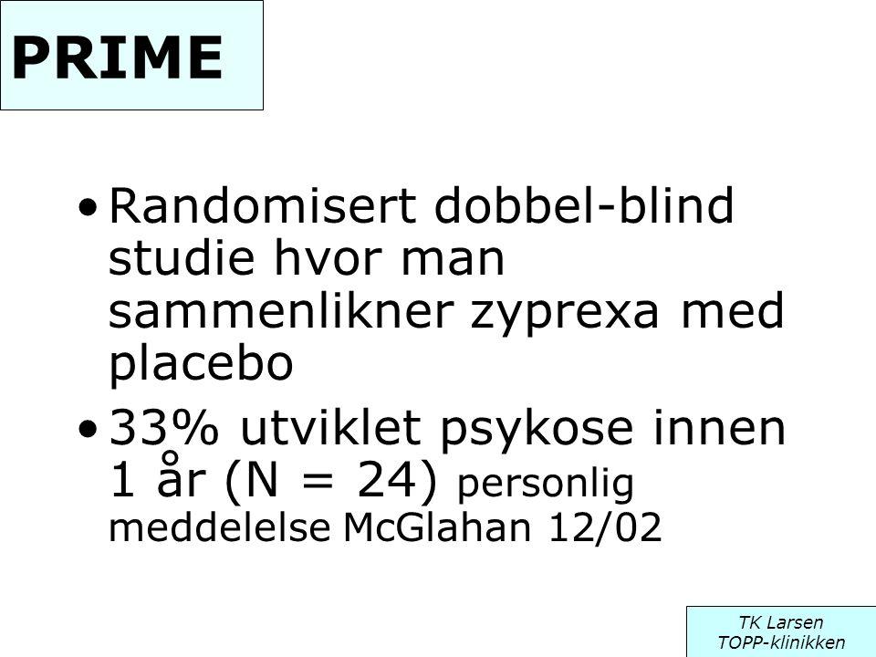 PRIME Randomisert dobbel-blind studie hvor man sammenlikner zyprexa med placebo.