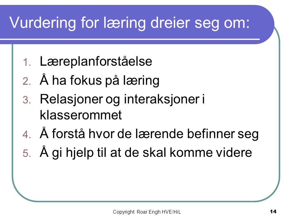 Vurdering for læring dreier seg om: