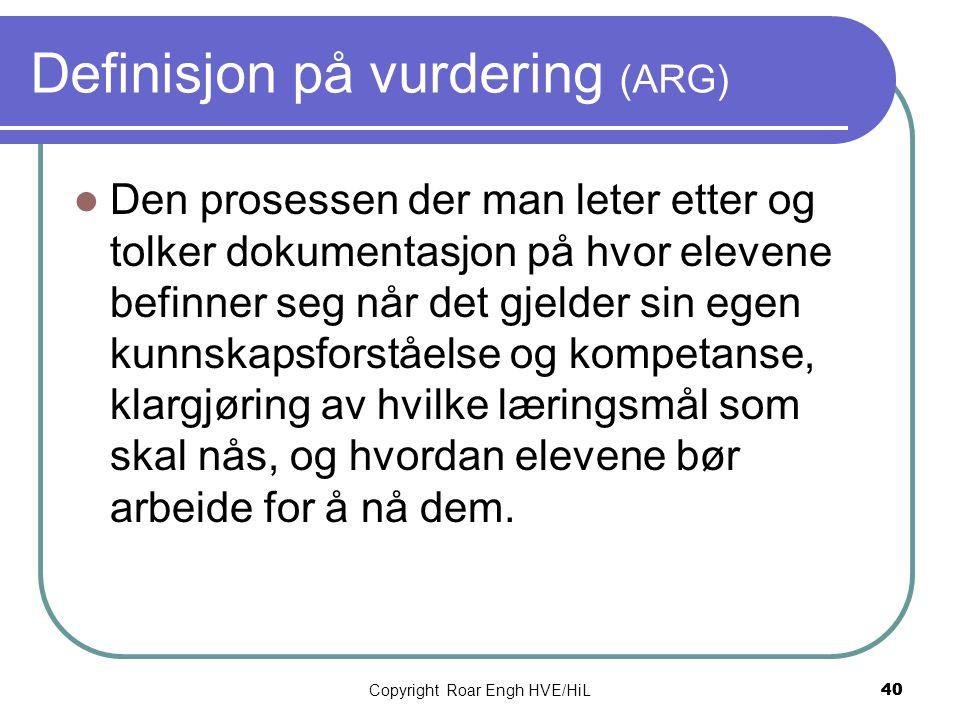 Definisjon på vurdering (ARG)