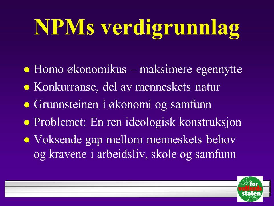 NPMs verdigrunnlag Homo økonomikus – maksimere egennytte