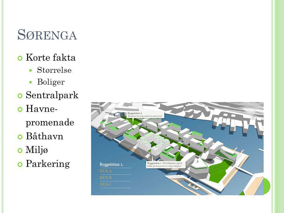 Sørenga Korte fakta Sentralpark Havne- promenade Båthavn Miljø