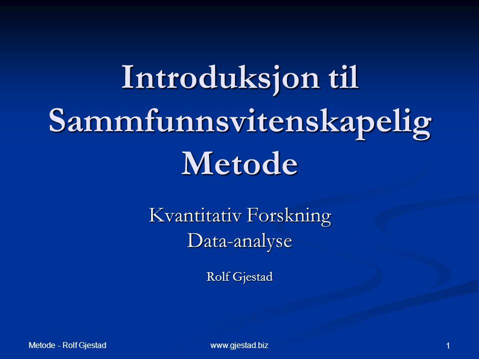 Introduksjon til Sammfunnsvitenskapelig Metode