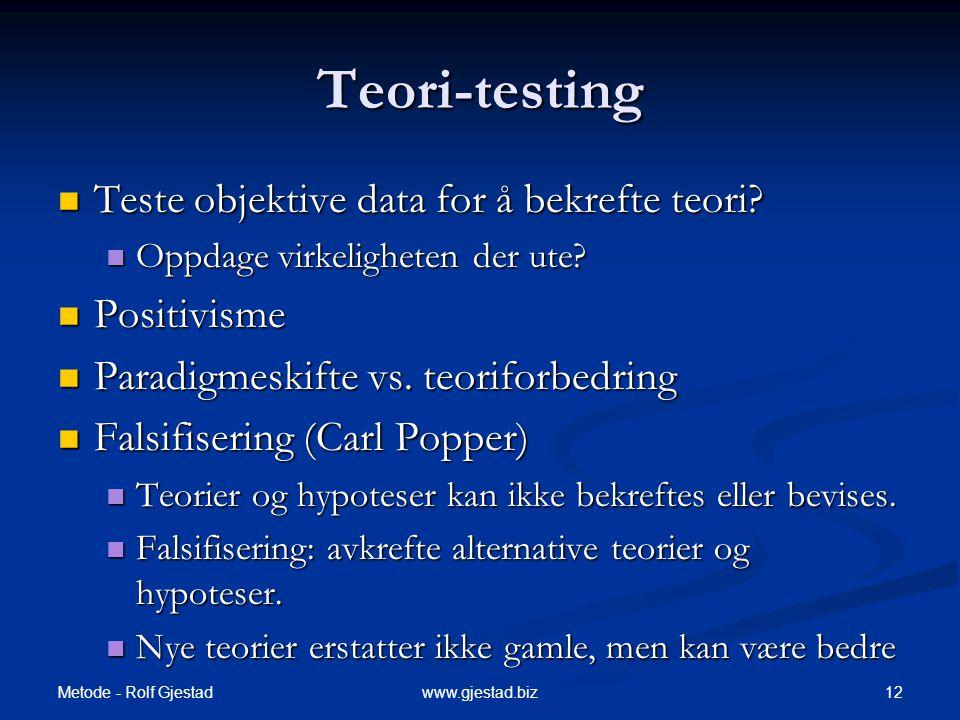 Teori-testing Teste objektive data for å bekrefte teori Positivisme