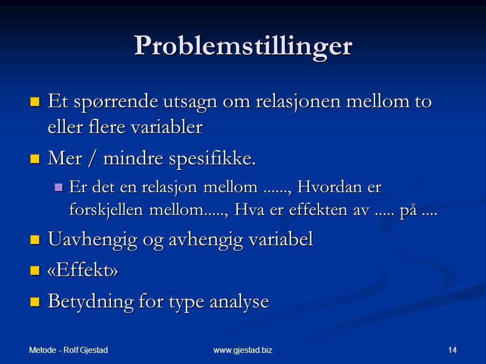Problemstillinger Et spørrende utsagn om relasjonen mellom to eller flere variabler. Mer / mindre spesifikke.