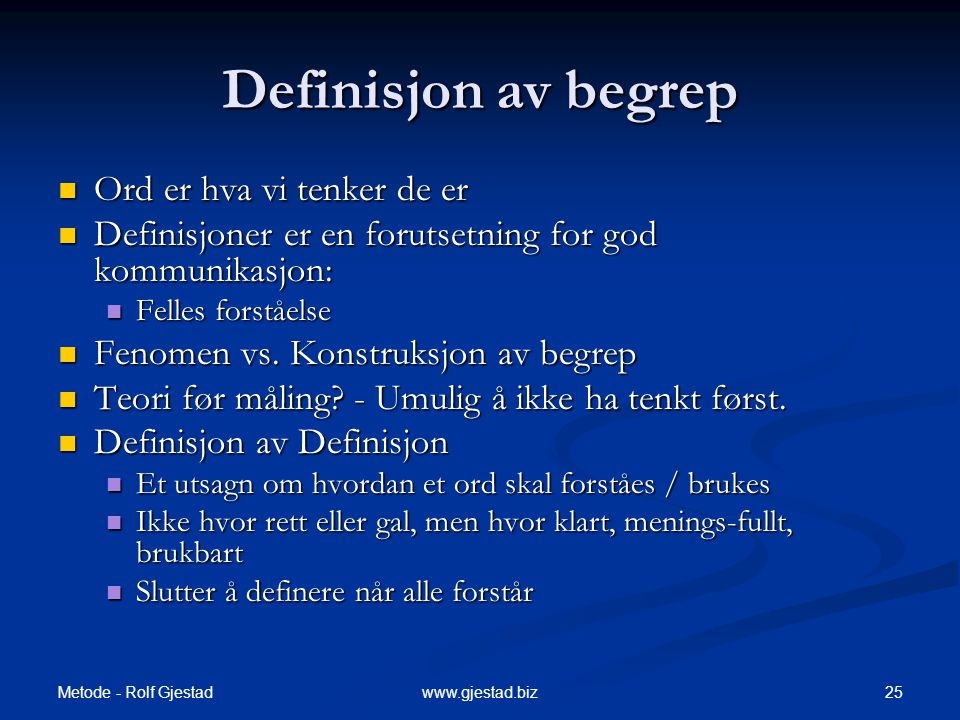Definisjon av begrep Ord er hva vi tenker de er