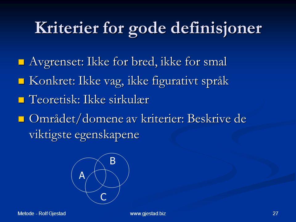 Kriterier for gode definisjoner