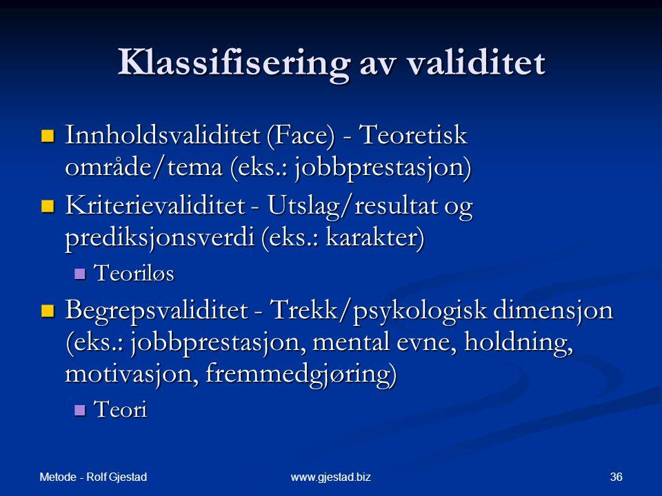 Klassifisering av validitet