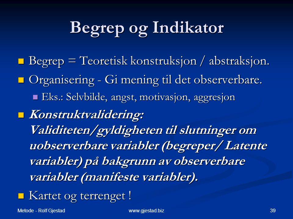 Begrep og Indikator Begrep = Teoretisk konstruksjon / abstraksjon.