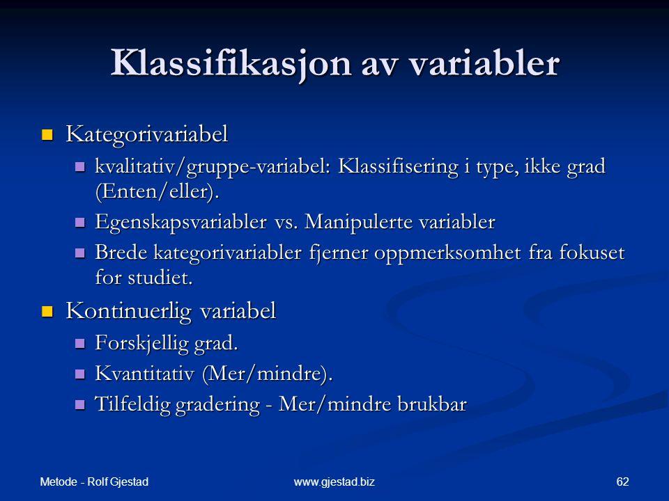 Klassifikasjon av variabler