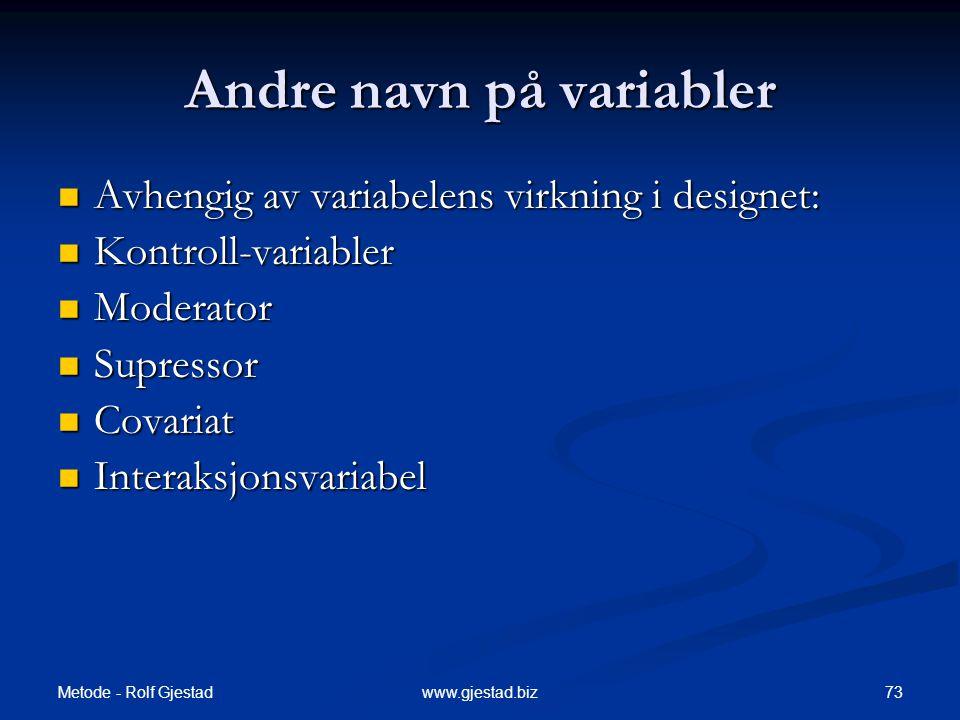 Andre navn på variabler