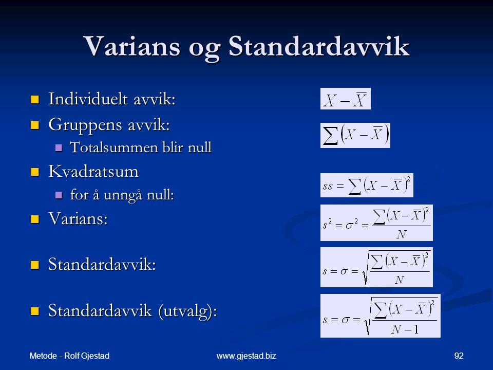 Varians og Standardavvik