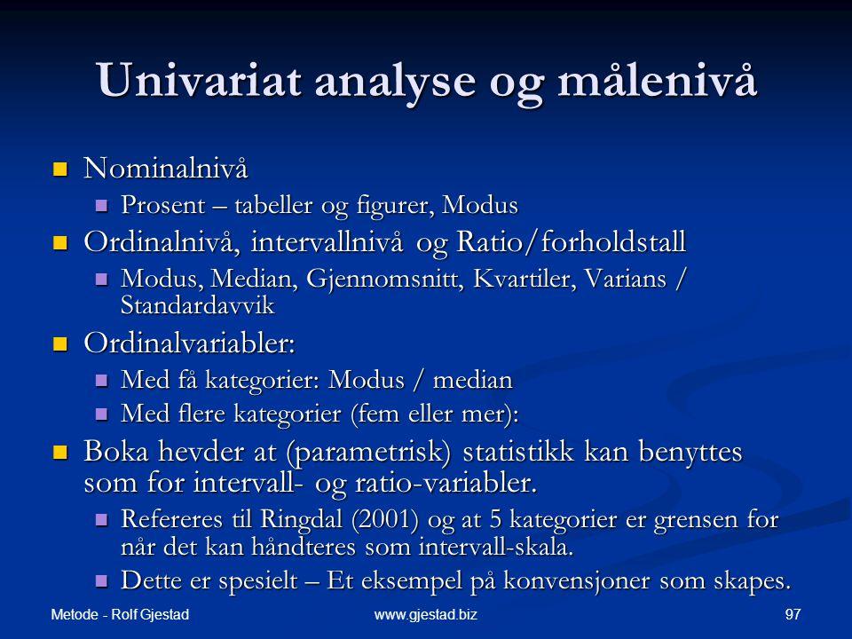 Univariat analyse og målenivå
