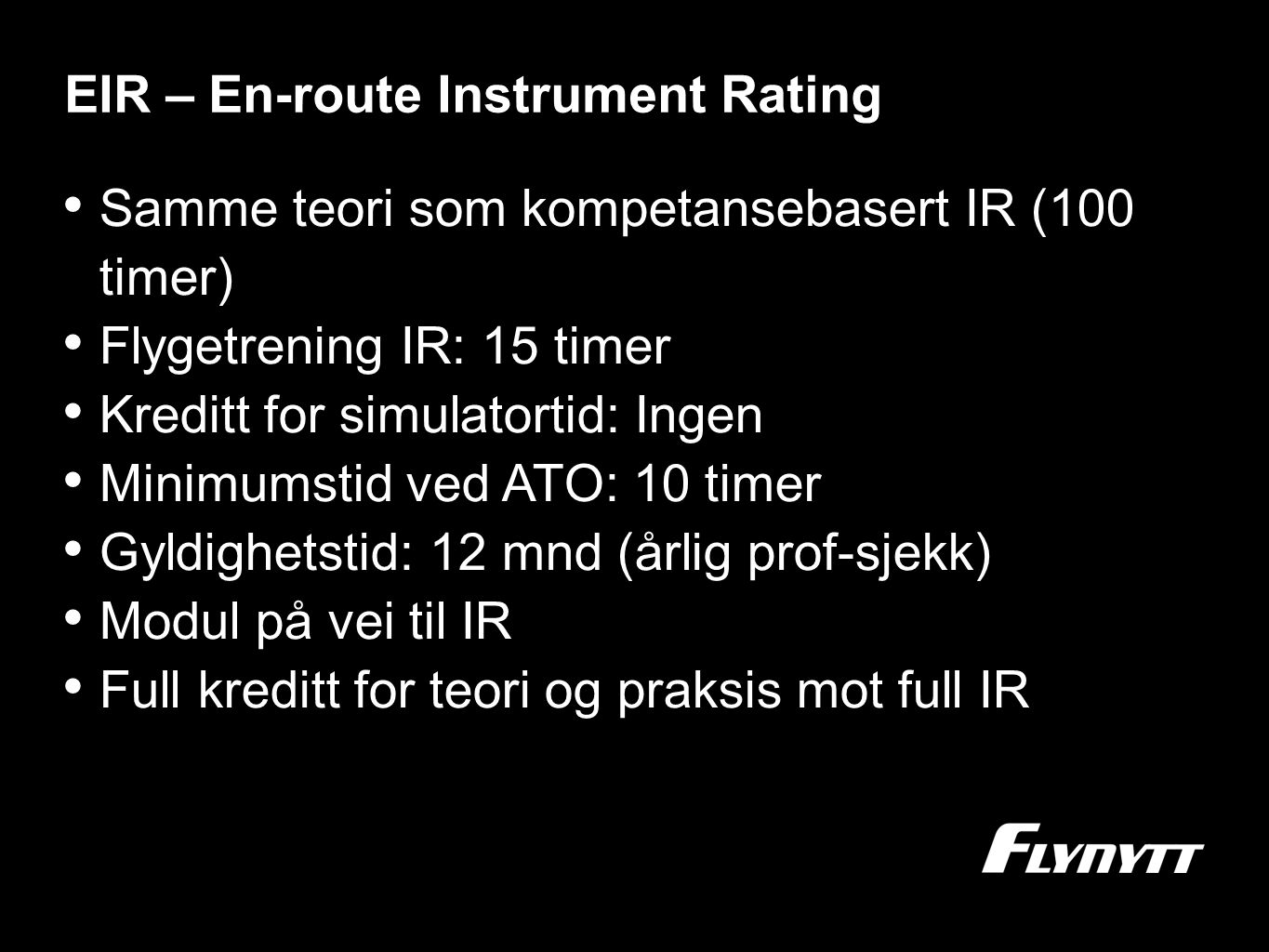 EIR – En-route Instrument Rating