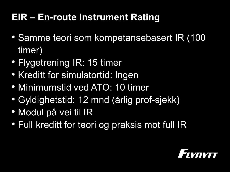 EIR – En-route Instrument Rating