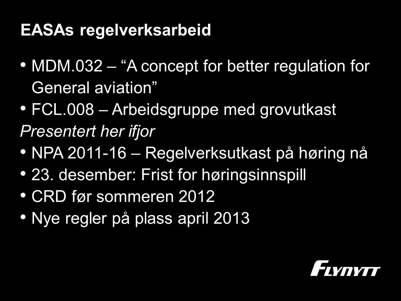 EASAs regelverksarbeid