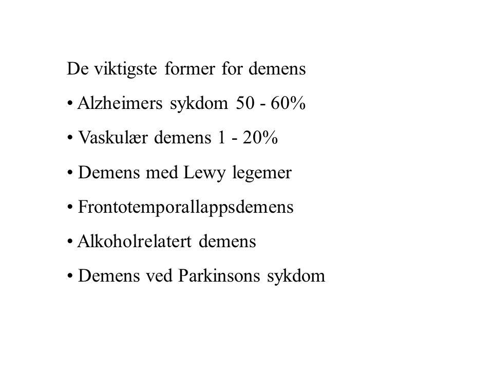 De viktigste former for demens