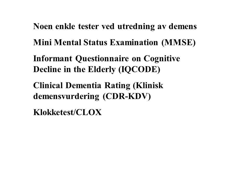 Noen enkle tester ved utredning av demens