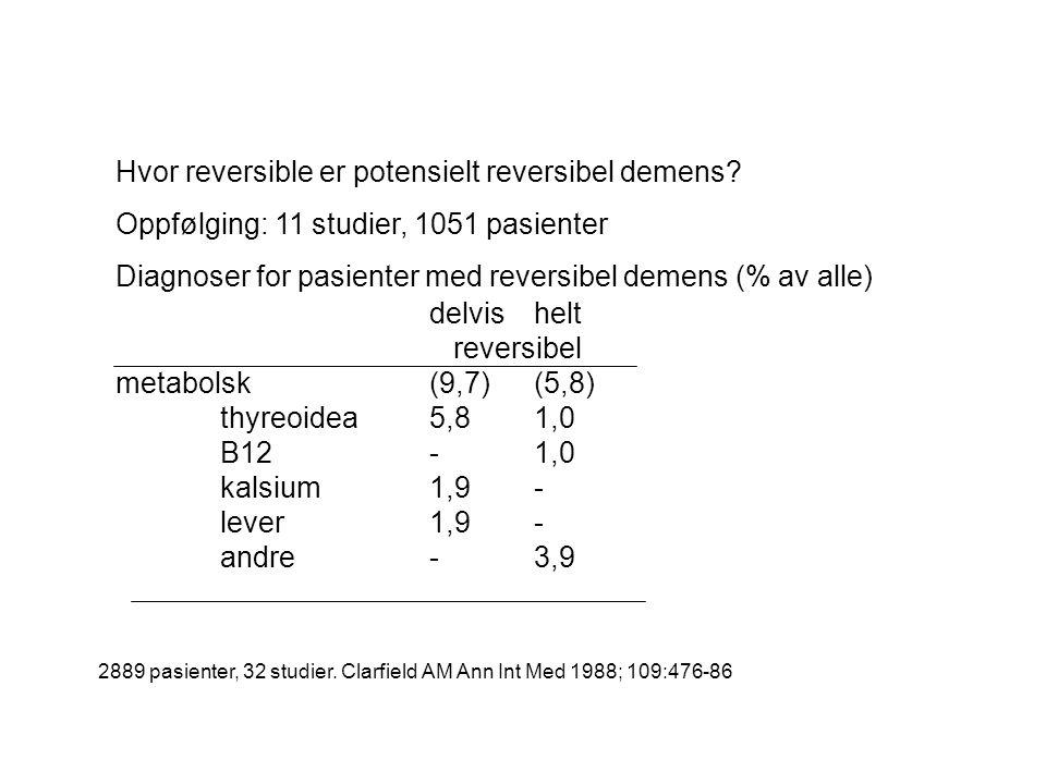 Hvor reversible er potensielt reversibel demens