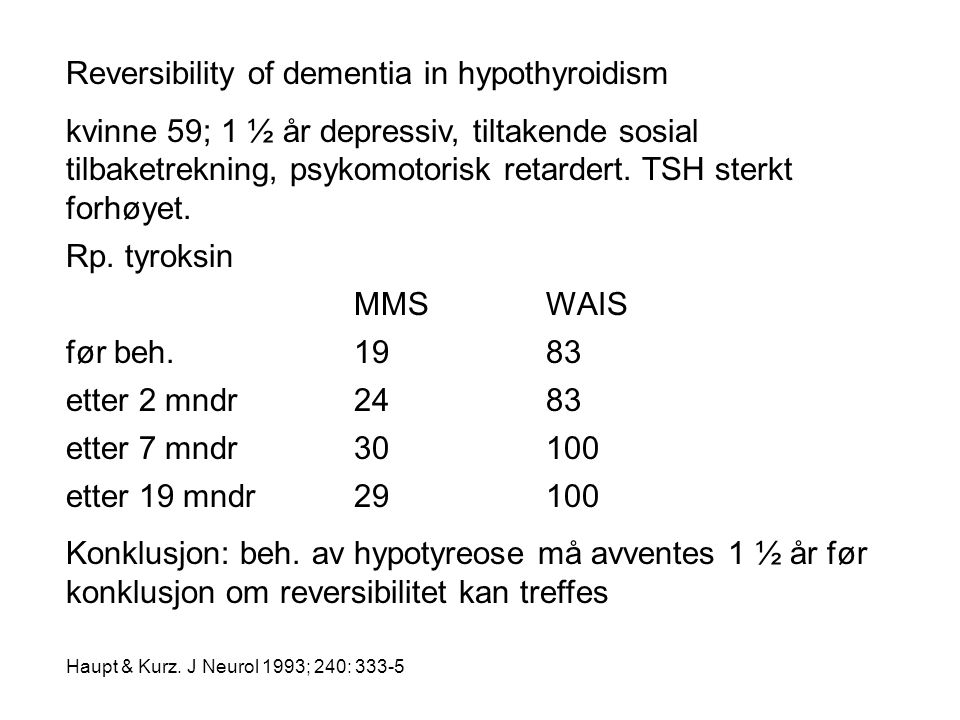 Reversibility of dementia in hypothyroidism