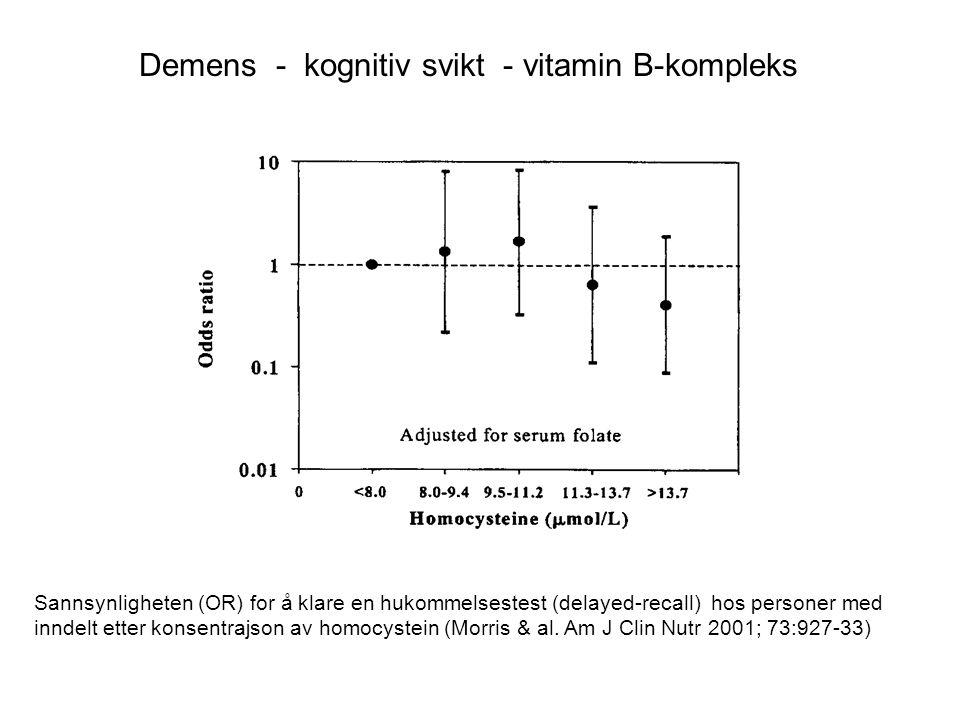 Demens - kognitiv svikt - vitamin B-kompleks