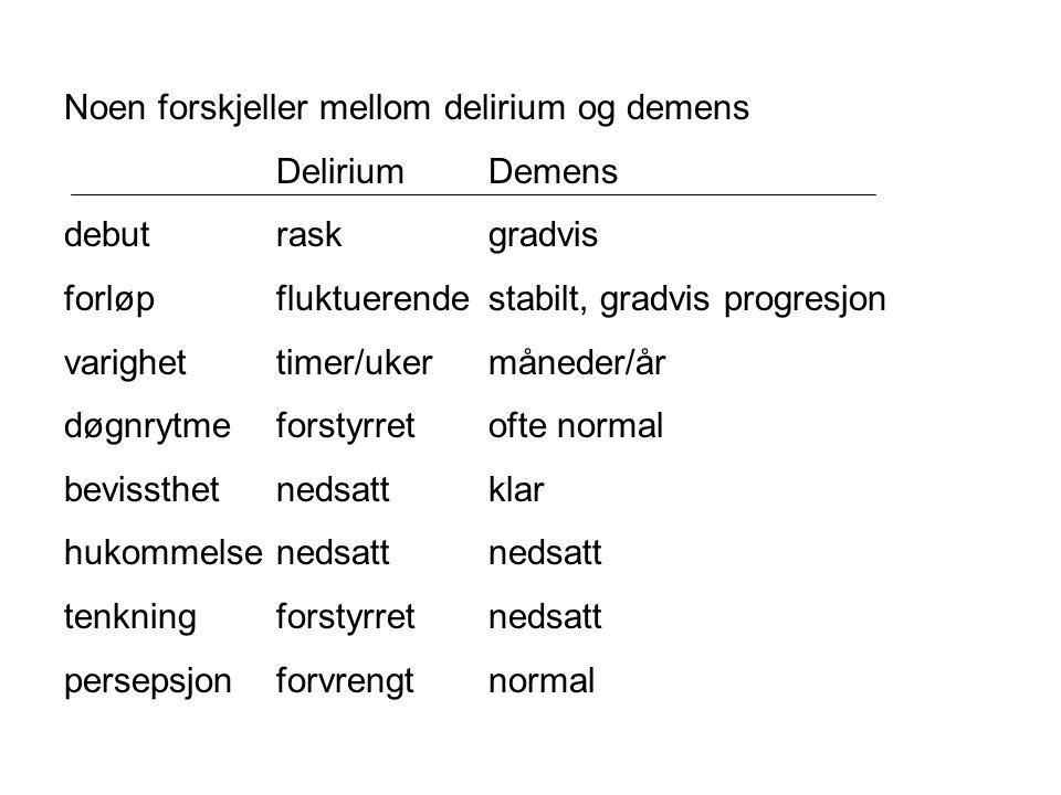 Noen forskjeller mellom delirium og demens