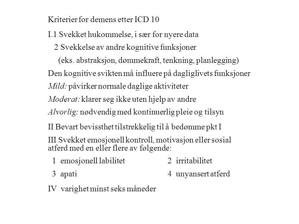 Kriterier for demens etter ICD 10