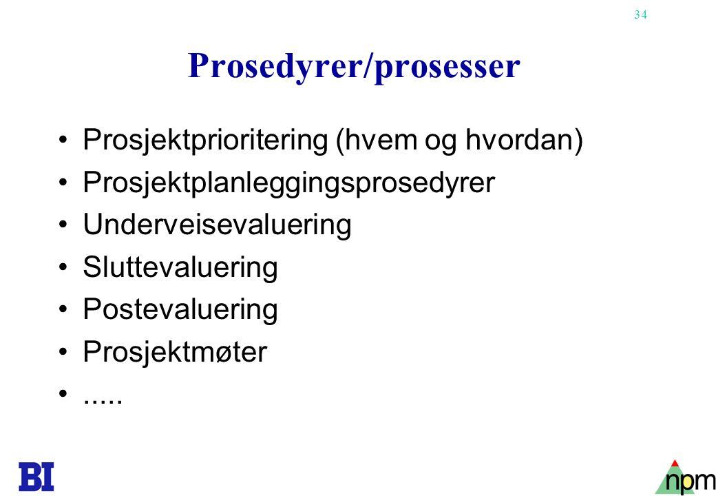 Prosedyrer/prosesser