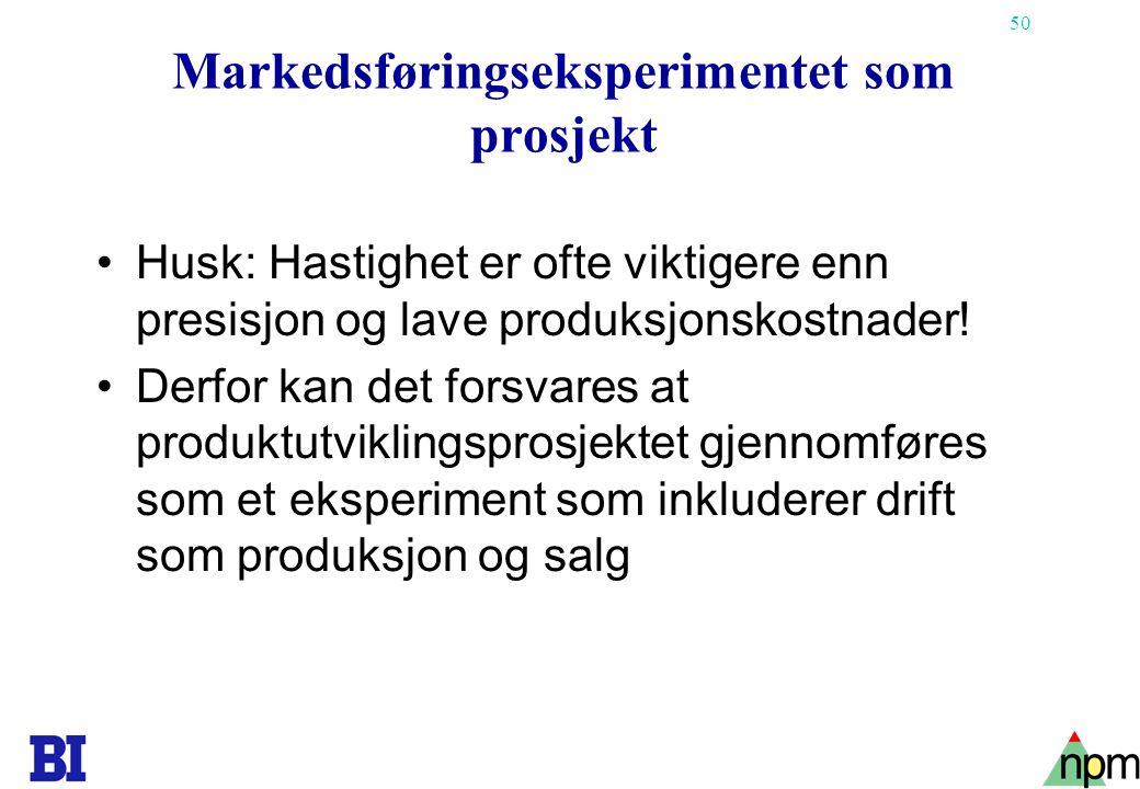 Markedsføringseksperimentet som prosjekt