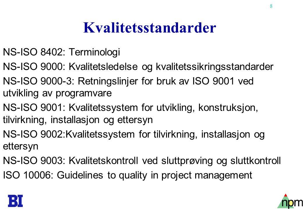 Kvalitetsstandarder NS-ISO 8402: Terminologi