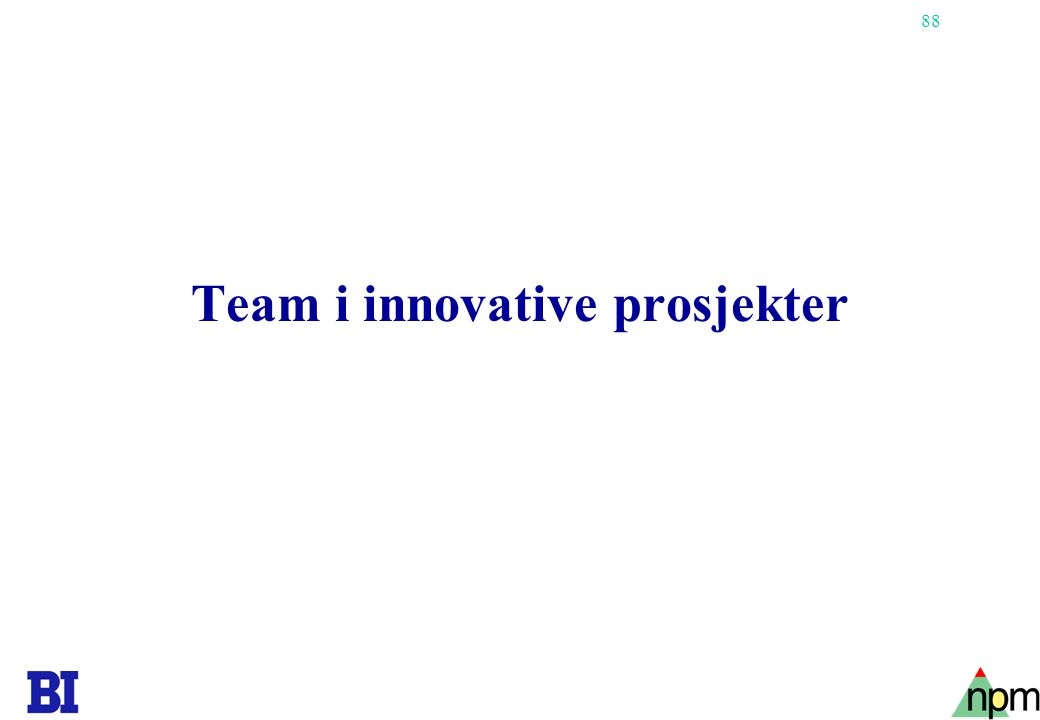 Team i innovative prosjekter