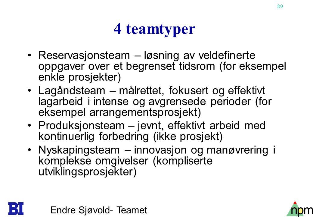 4 teamtyper Reservasjonsteam – løsning av veldefinerte oppgaver over et begrenset tidsrom (for eksempel enkle prosjekter)