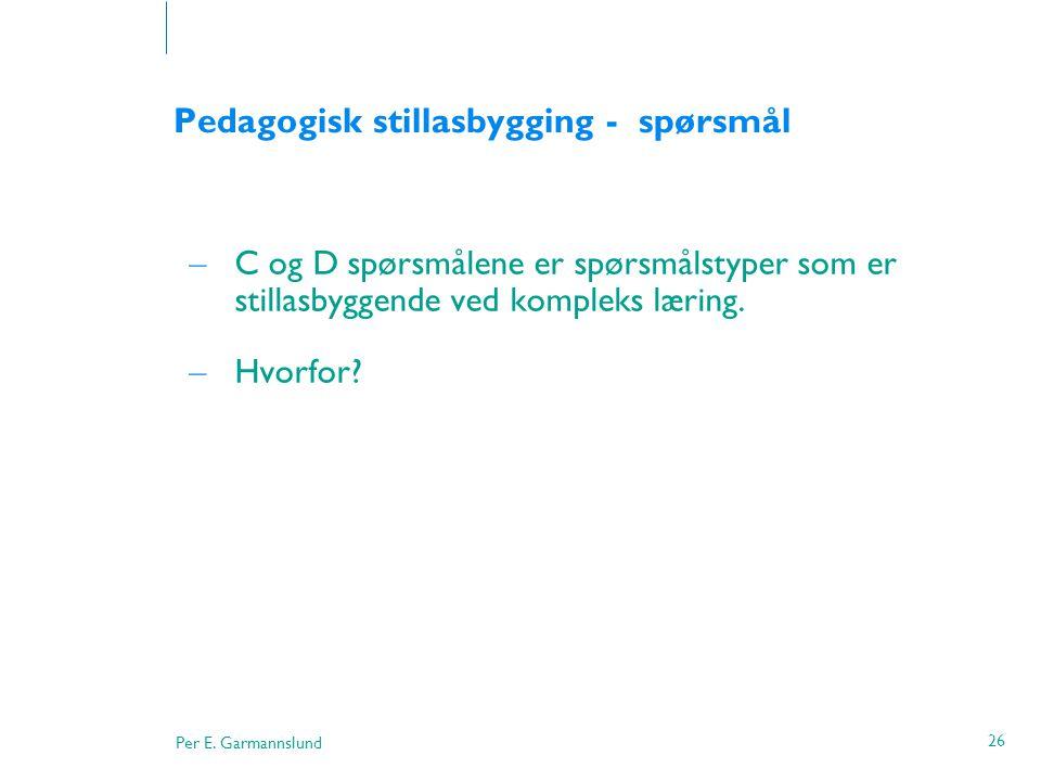 Pedagogisk stillasbygging - spørsmål