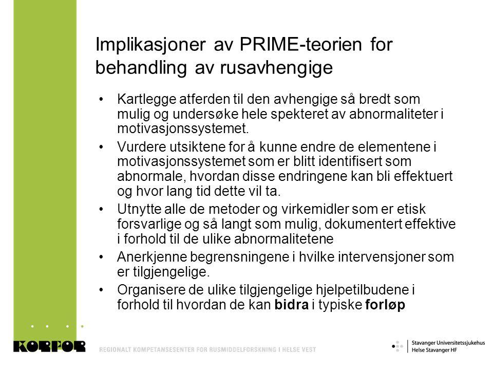 Implikasjoner av PRIME-teorien for behandling av rusavhengige