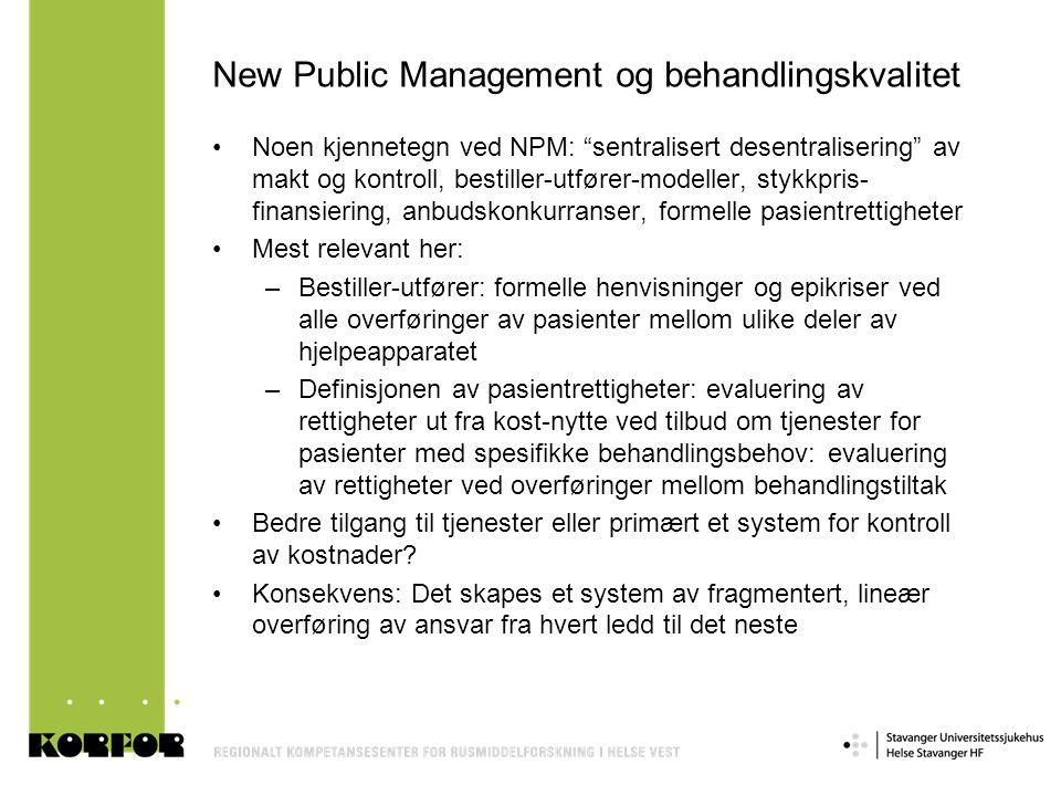 New Public Management og behandlingskvalitet